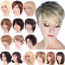 Femme Court Perruque De Cheveux Résistante À La Chaleur Brun Foncé Mélange Blond