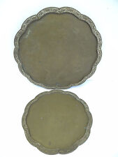 Two Antique Old Rhino Elephant Decorative Brass Metal China Serving Trays Stands