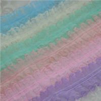 1-8 Yards Pretty Pleated Edge Gathered Ribbon Frilled Lace Trim Sewing/Crafts