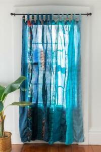 Indian Sari Patchwork Curtain Drape Window Decor Silk Sari Turquoise Curtain