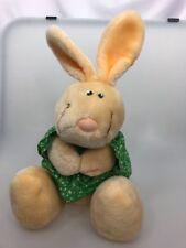 Anne Klocko Designs Bunny Rabbit Dakin 1984 vintage green dress cream plush