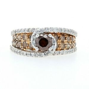 White Gold Diamond Halo Bypass Ring - 14k Round Cut 2.48ctw Fancy Brown