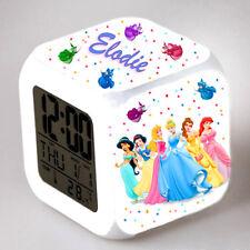 Reveil cube led lumière nuit alarm clock princesse personnalisé prénom  réf 05