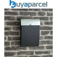 Garden Trading Carbon Grey & Steel Letter Post Mail Box With Lock Wall Mounted