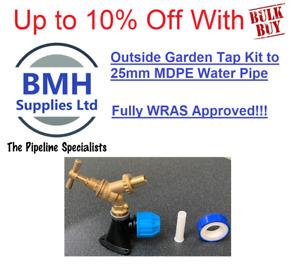 """Brass Hose Union Bib Tap 1/2"""" Kit C/W 25mm Wall Plate Elbow - Outdoor Garden Tap"""