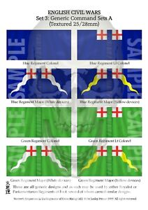 20MM TEXTURED - SET 3 GENERIC COMMAND SET A - ENGLISH CIVIL WAR FLAGS