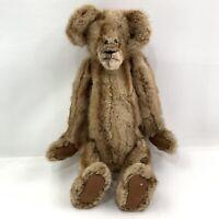 """Vtg Sable Mink Handmade Teddy Roosevelt Style Teddy Bear 18"""" Jointed"""