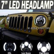 "90W CREE LED Headlight Kit 7"" Round Projector DRL Turn Signal Headlamp Assembly"