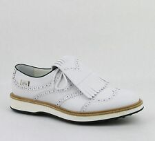 Gucci Men's Leather Brogue Fringed Oxford Golf Shoes White 368438 9014