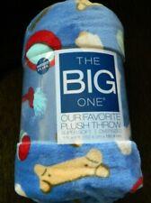 Dog toys & treats blue plush super soft oversized throw (5 ft by 6 ft)