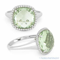 5.35 ct Green Amethyst & Diamond Pave Right-Hand Cocktail Ring in 14k White Gold