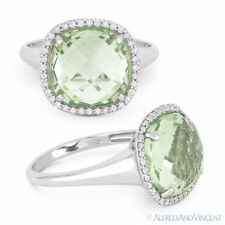 Right-Hand Cocktail Ring in 14k White Gold 5.35 ct Green Amethyst & Diamond Pave