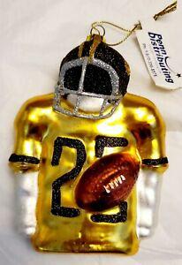 Black/Gold Upper Torso Football Player Glass Ornament