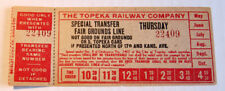 Vintage The Topeka Railway Co. Fair Grounds Line Streetcar & Trolley Transfer