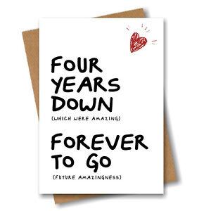 4th Anniversary Card - Husband Wife Boyfriend Girlfriend Fiance 4 year Wedding