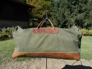 Vtg Gokeys Orvis Green Canvas/Leather Large Duffle Bag w/Shoulder Strap