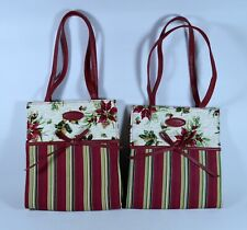 2 Longaberger Holiday Poinsettia Botanical & Stripe Tote Bags Purses