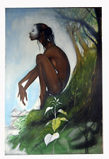 "36"" Original Henry Porter Young Nude Tribal Black Americana Woman Tree Braids"
