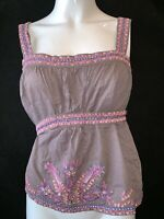 FRENCH CONNECTION Women's Brown Embroidered Wise Strap Cami. Size UK 12
