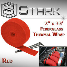 "2"" x 33' In Ft Fiberglass Manifold Header Exhaust Heat Tape Wrap Ties - RED (R)"