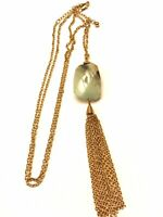 Vintage Polished Light Blue Stone Tassle Chain Necklace Gold Tone Long 32""