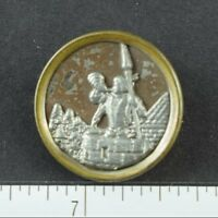 Vintage Lovely Victorian Trumpeter On Castle Pike Figural Realistic Button