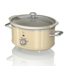 Swan 3.5 Litre Retro Slow Cooker Crock Pot Glass Lid Kitchen Cookware 200W Cream