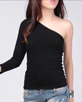 Women Ultra Soft One Shoulder Off Long Sleeves Tops T-Shirt Tee Blouse S-4XL