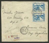 PERU TO ARGENTINA Registered Cover 1938, VF