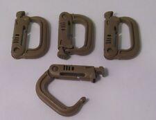 Grimloc, D-Ring Carabiner Coyote Brown MOLLE II,  FLC (set of Four 4) ITW Nexus