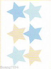 Wendy Bellissimo Baby Blue Beige Camo Star Wall Stickers Decals Appliques