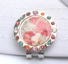 Floral Watercolor with Crystals Golf Ball Marker & Magnetic Hat-Visor Clip