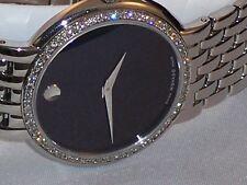 NEW Men's Movado Certa st.steel 0.80ct.apx.custom set real diamond Watch 0605613