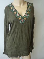 NEXT Ladies Green Flower Sequin Trimmed V Neck Long Sleeved Top UK 12 EU 40