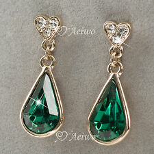 DROP EARRINGS STUD 9K GF 9CT ROSE GOLD GREEN CRYSTAL TEAR DROP NEW