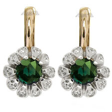 14k Rose & White Gold 0.60cwt Diamond 2.20cwt Chrome Diopside Russian Earrings