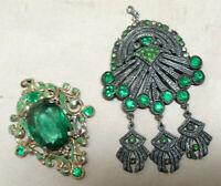 Vintage Costume Jewelry Pendant - Green Lucite & Rhinestones - 2 Piece Lot
