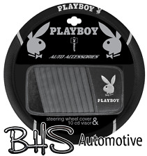 PLAYBOY SILVER Steering Wheel Cover and CD Visor - Brand New