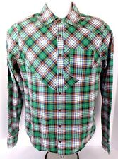 Men's AUDI Q3 Patch Plaid Long Sleeve Button Shirt Size SMALL S Green/Brown