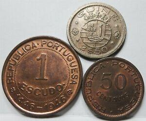 GUINEA BISSAU PORTUGAL lot 3x 1 escudo 1946 50 cen. 2 1/2 escudo 1952 UNC #A39