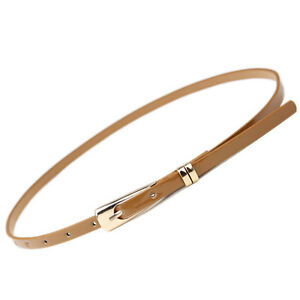 New Women's Ladies Skinny Buckle Waist Belt Thin Leather Narrow Waistband  P5
