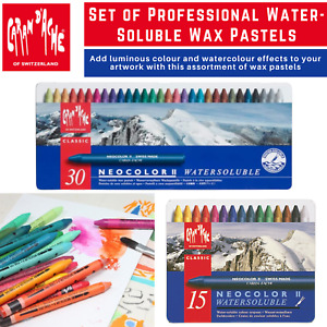 Caran D'Ache NeoColor II Water-Soluble Wax Pastel Crayons, Soft, Velvety Texture