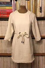 ASOS white boucle tweed fringe nautical waist tie mini dress UK 6-8 / US 4-6