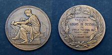 Médaille Exposition du Travail. Cours de Dessin. 1930. Bronze, Avec sa boite