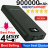 4USB 900000mAh Power Bank LED External Battery Pack Charger for Phones Black