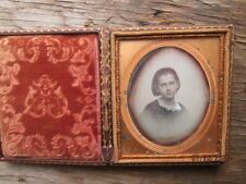 Sixth Plate Daguerreotype of Young girl with red cheeks leather case