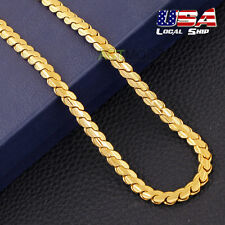 Noble 18k Yellow Gold Plated Snake Chain Necklace Hip-Hop Punk Style Men Jewelry