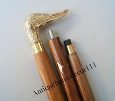 "Vintage Brass Designer Duck Handle Wooden Walking Stick Cane Gift Item 36"" Long"