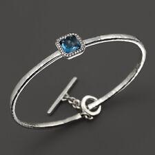 Ippolita Stella London Blue Topaz & Diamonds Toglette Bangle Bracelet in Silver