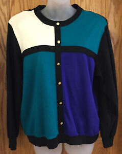 Alfred Dunner Womens Sweater Button Look Blocks Black Teal Purple White Size PL